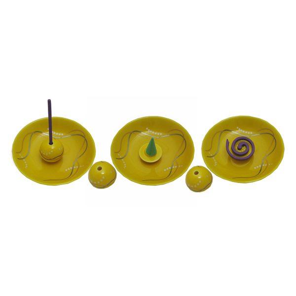 香立付香皿 華かんざし(黄釉)