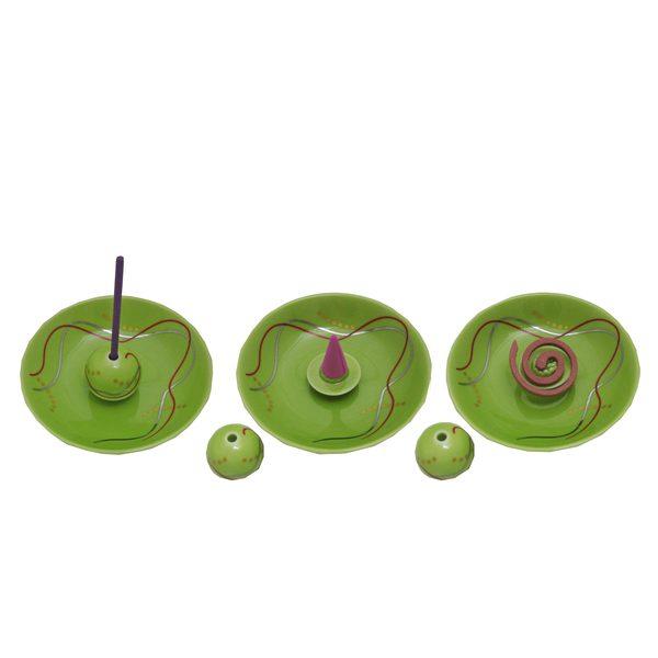 香立付香皿 華かんざし(新緑)